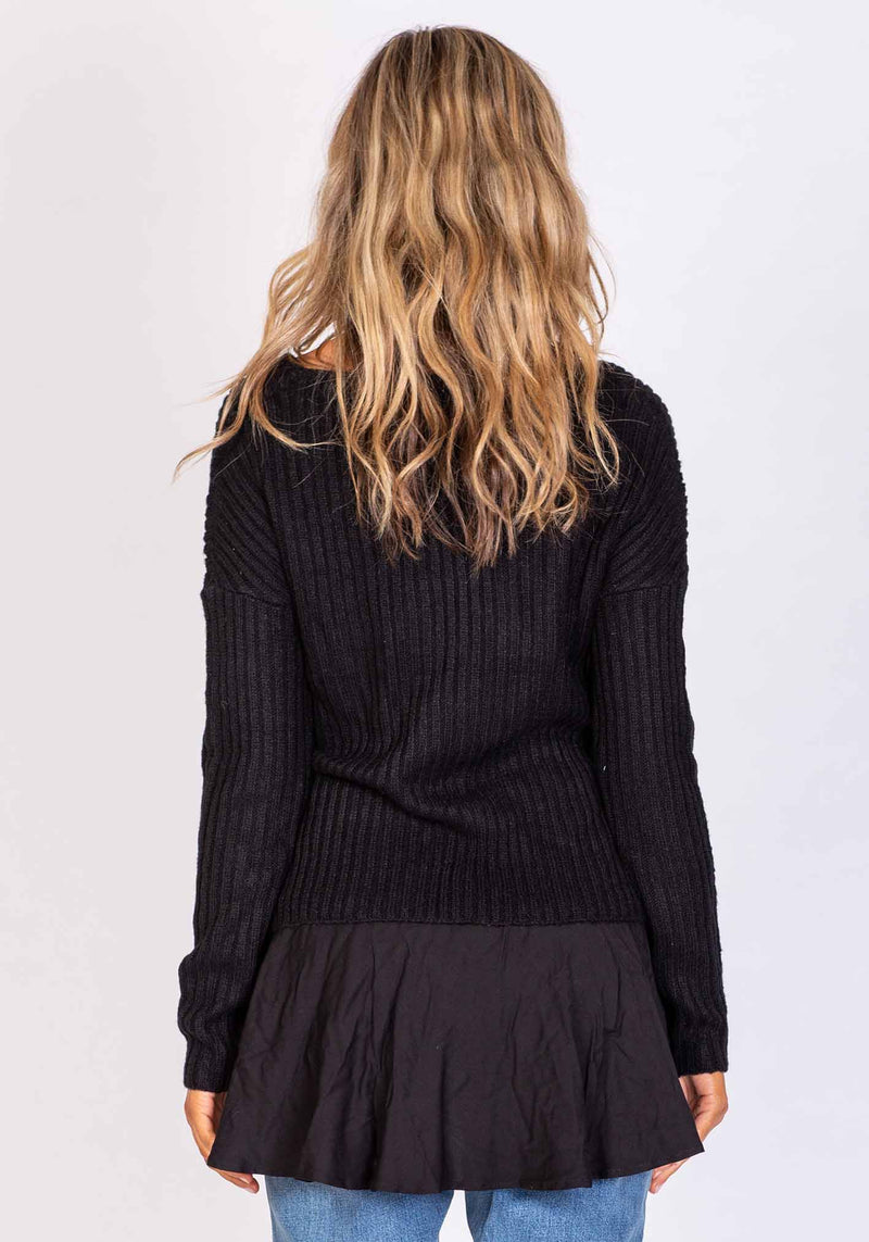 Moonlight Womens Black V-Neck Knit by Three of Something Sydney Australia