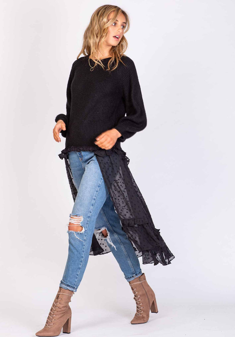 Rapids Black High Low Knit Jumper by Three of Something Sydney Australia