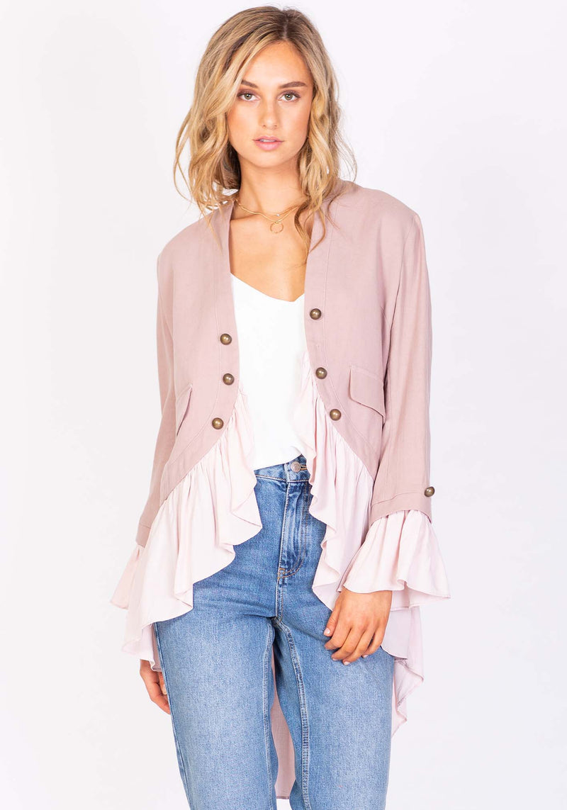 Womens Jacket The Hawking Pink High Low Jacket by Three of Something Sydney Australia