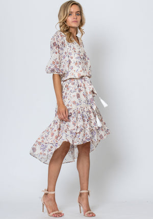 Temple Floral Printed Midi Dress by Three of Something Sydney Australia