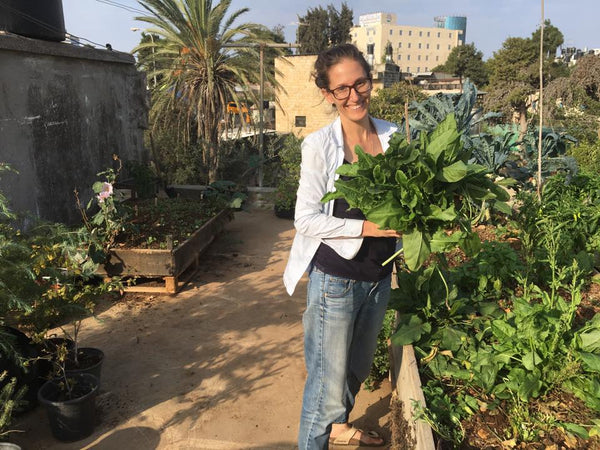 Morgan on her rooftop garden in Ramallah.