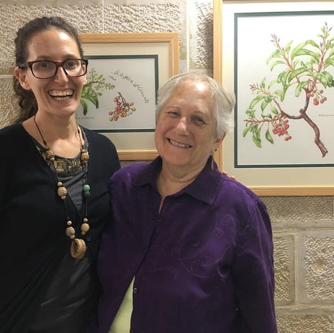 Botanical Artist Lois Nakhleh to the left and Morgan Cooper the director of Mashjar Juthour to the right.