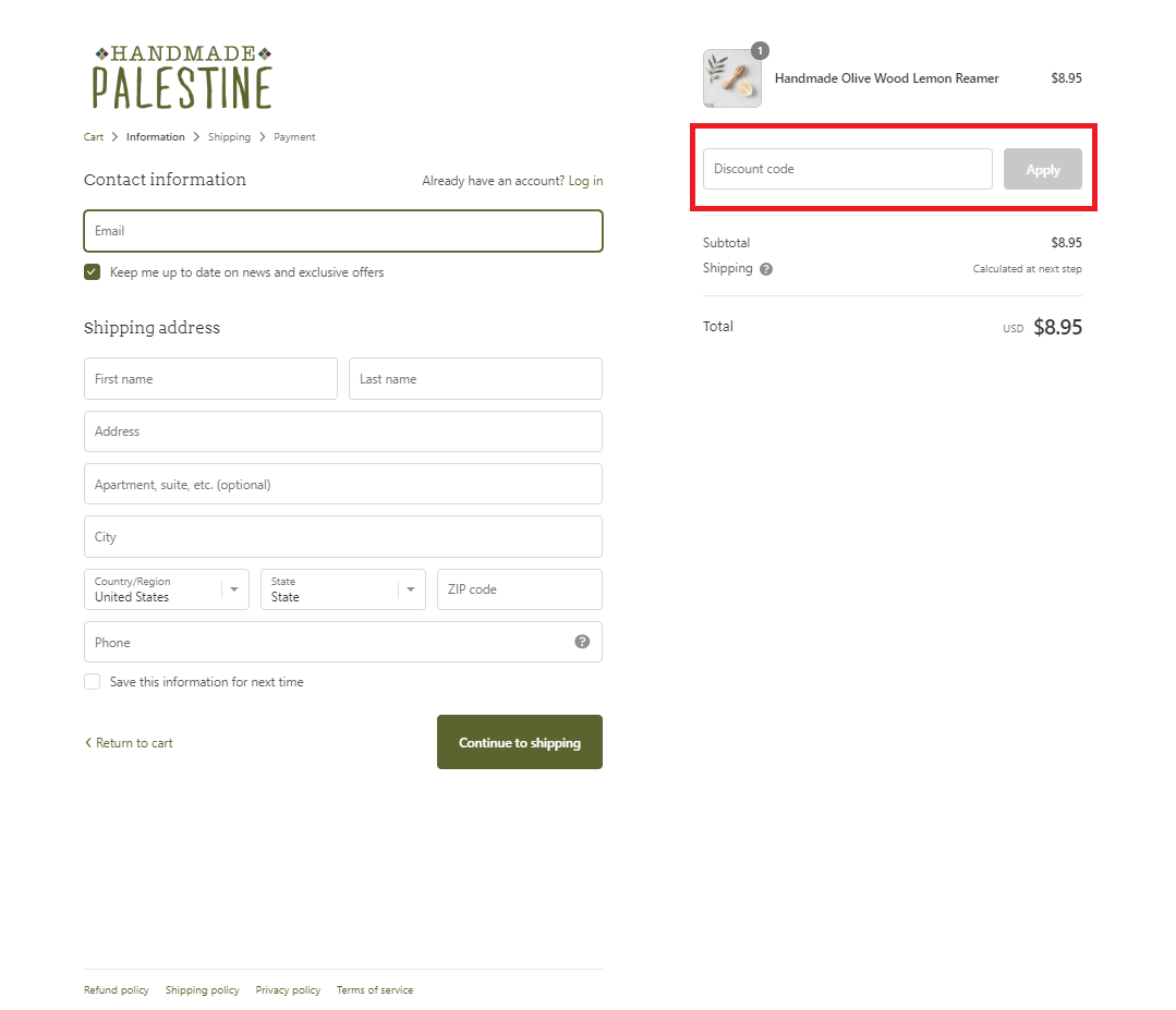 How to apply promo code at checkout - shopify check out | Handmade Palestine