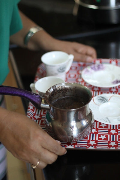 arabic coffee on tray - domari society of gypsies in jerusalem | Handmade Palestine