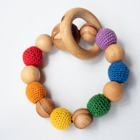 Teething Bracelet Made from Olivewood in Bethlehem | Little Olea | Handmade Palestine