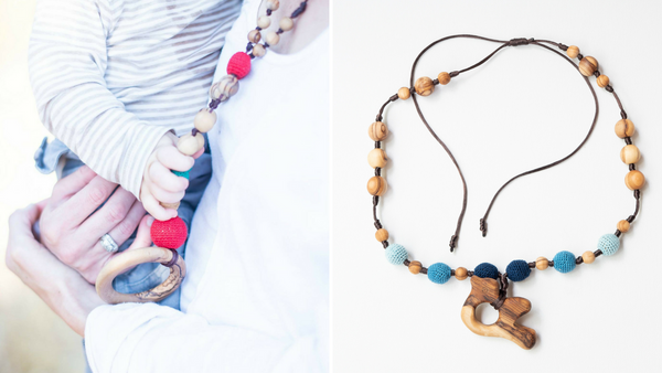 Mama and Baby using Little Olea's Teething Necklace