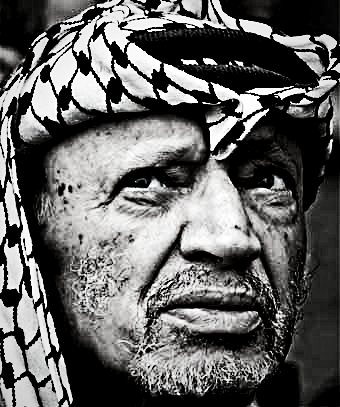 Yassir Arafat wearing hatta and igal