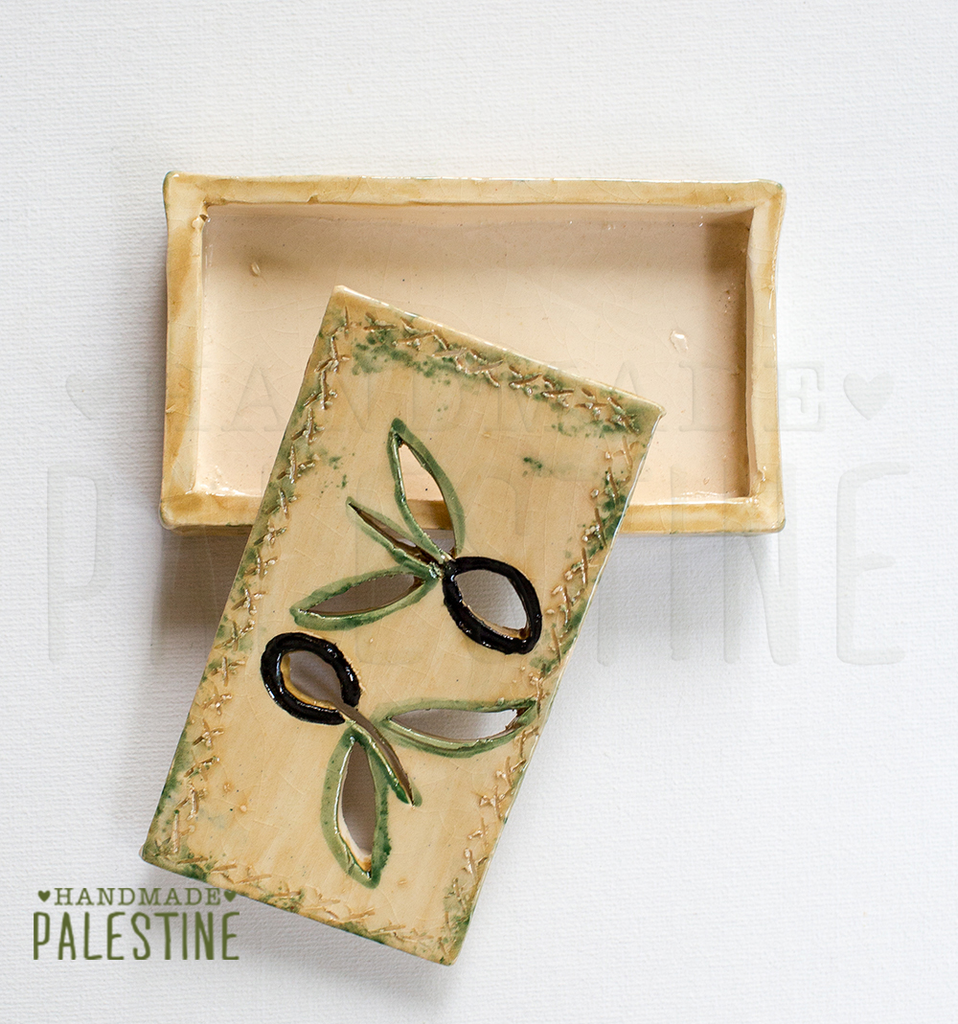 Ceramic Soap Dish in Olive Leaf Motif