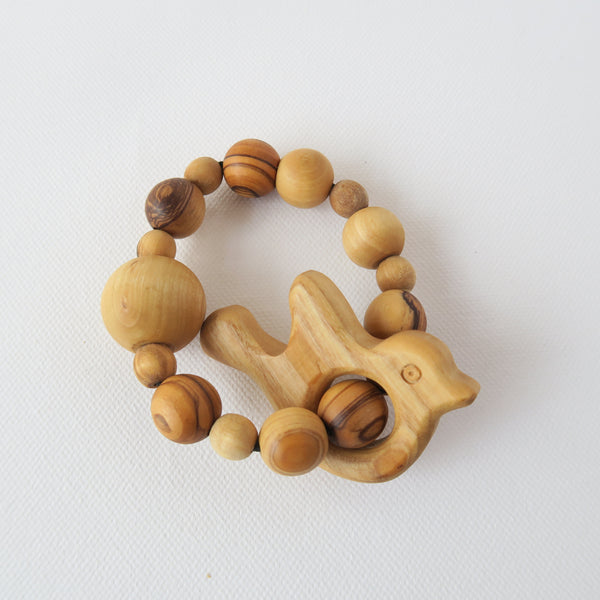 All Wood Teething Ring with Sheep