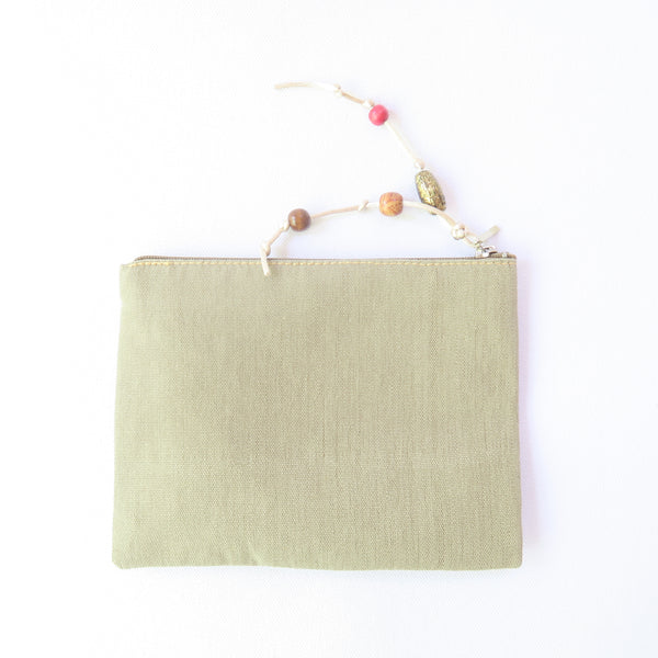 Hand-Woven Beige Make Up Purse With Embroidery