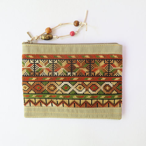 Hand-Woven Beige Make Up Purse With Embroidery - Handmade Palestine