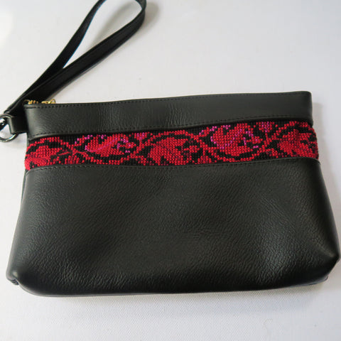 Leather Clutch Purse in Black