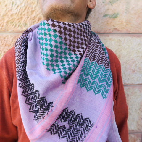 Original Palestine-Made Keffiyeh in Lavender Style