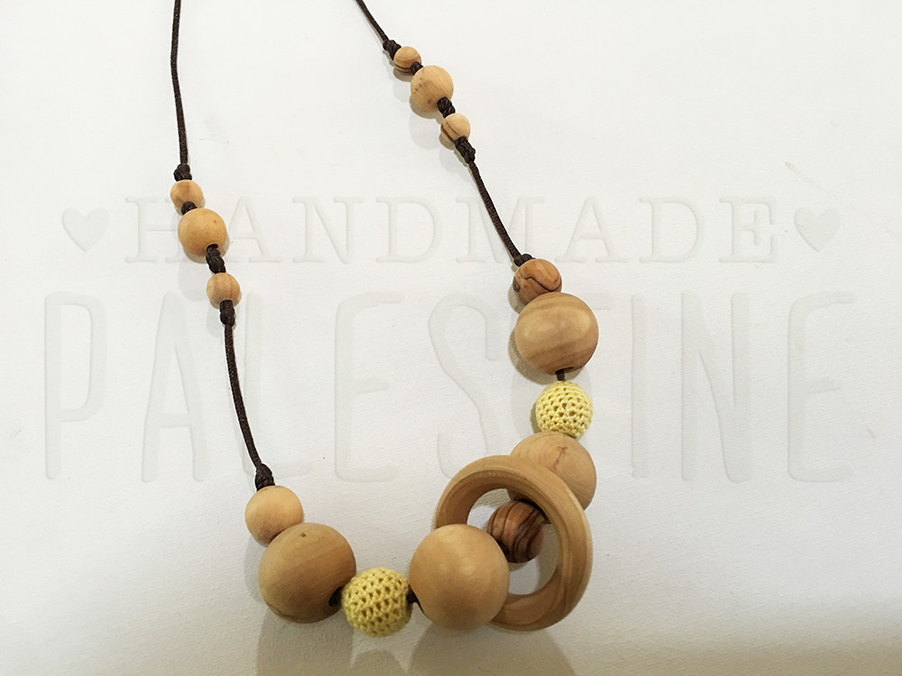 Wood Nursing Necklace in Natural Style with Yellow Beads