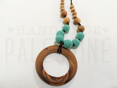 Teething Necklace with Turquoise Beads