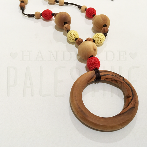 Wooden Nursing Necklace with Crocheted Beads