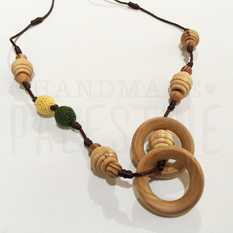 New Mama Necklace with Dark Green & Yellow Beads
