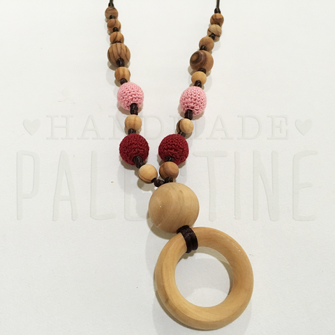 Teething Necklace with Maroon & Pink Beads