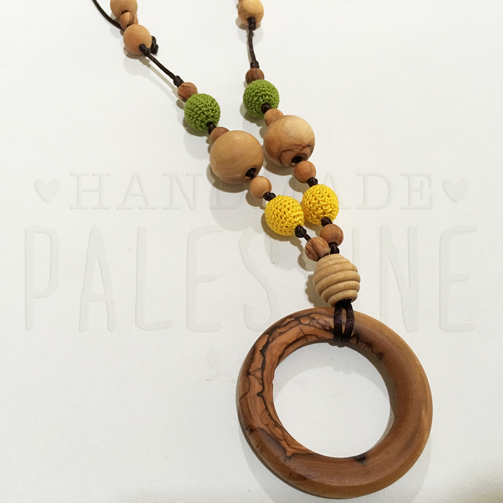 Teething Necklace with Yellow & Avocado Green Beads