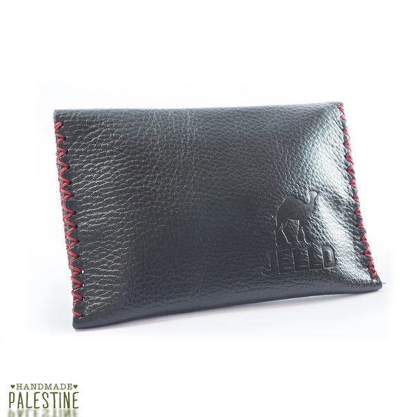 Handcrafted Tobacco Pouch in Black Leather