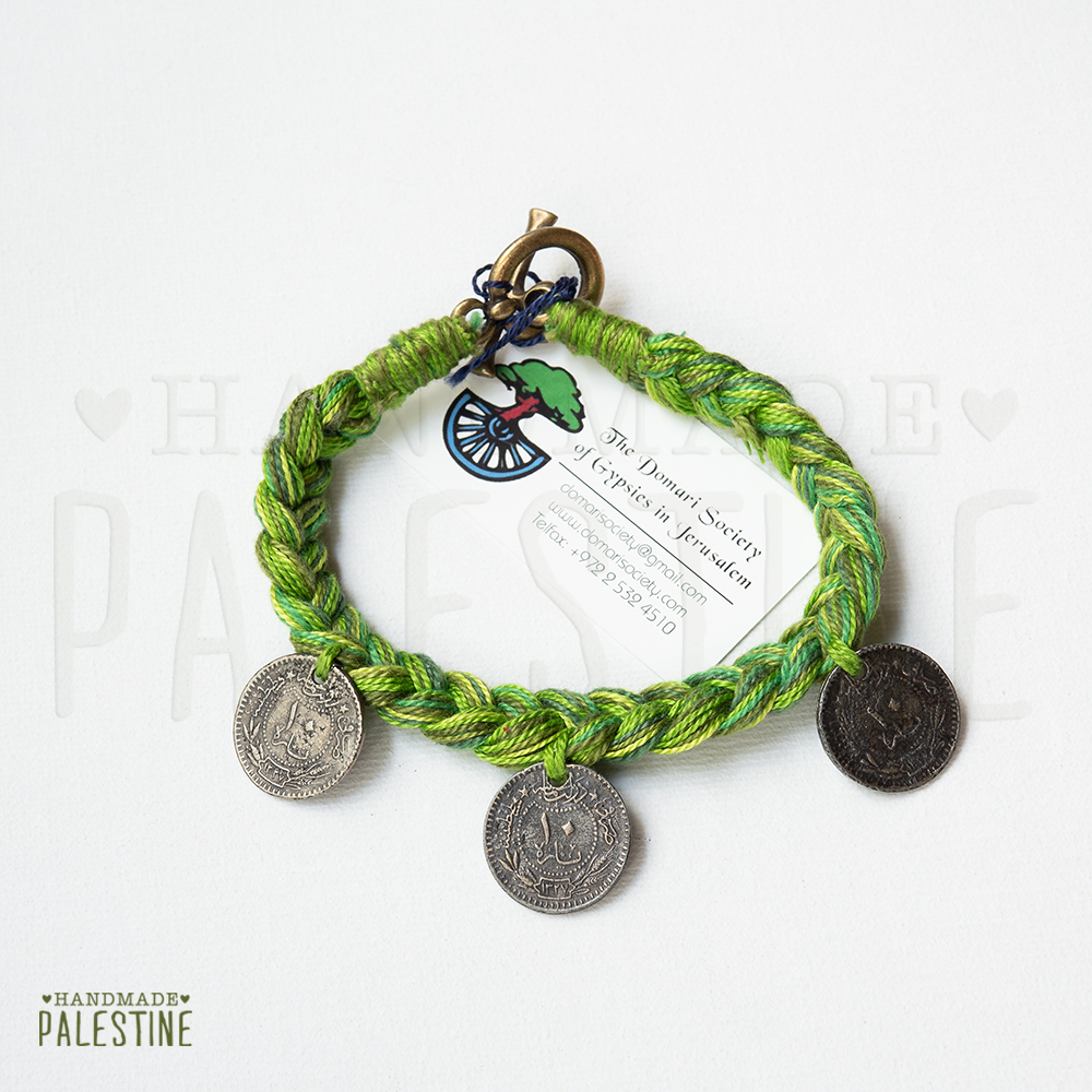 Gypsy Bracelet: green woven with 3 coins