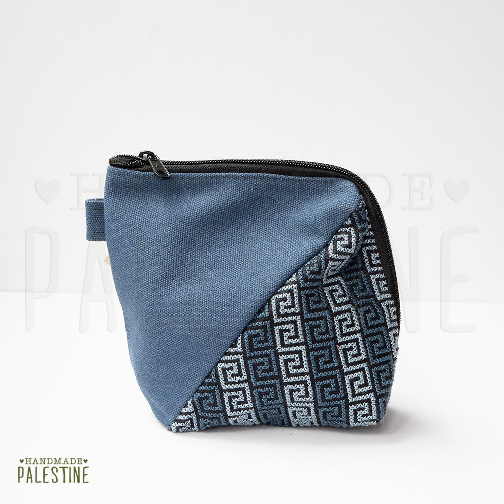 Denim Clutch Bag with Emrboidery in Blue