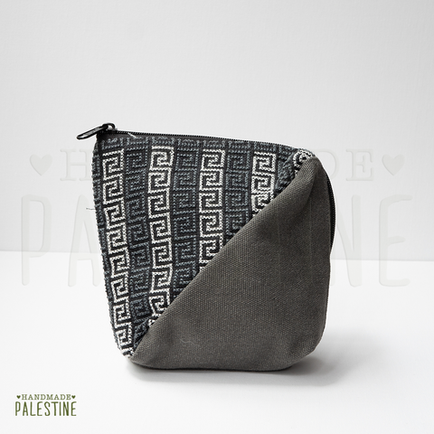 Denim Clutch Bag with Emrboidery in Dark Grey