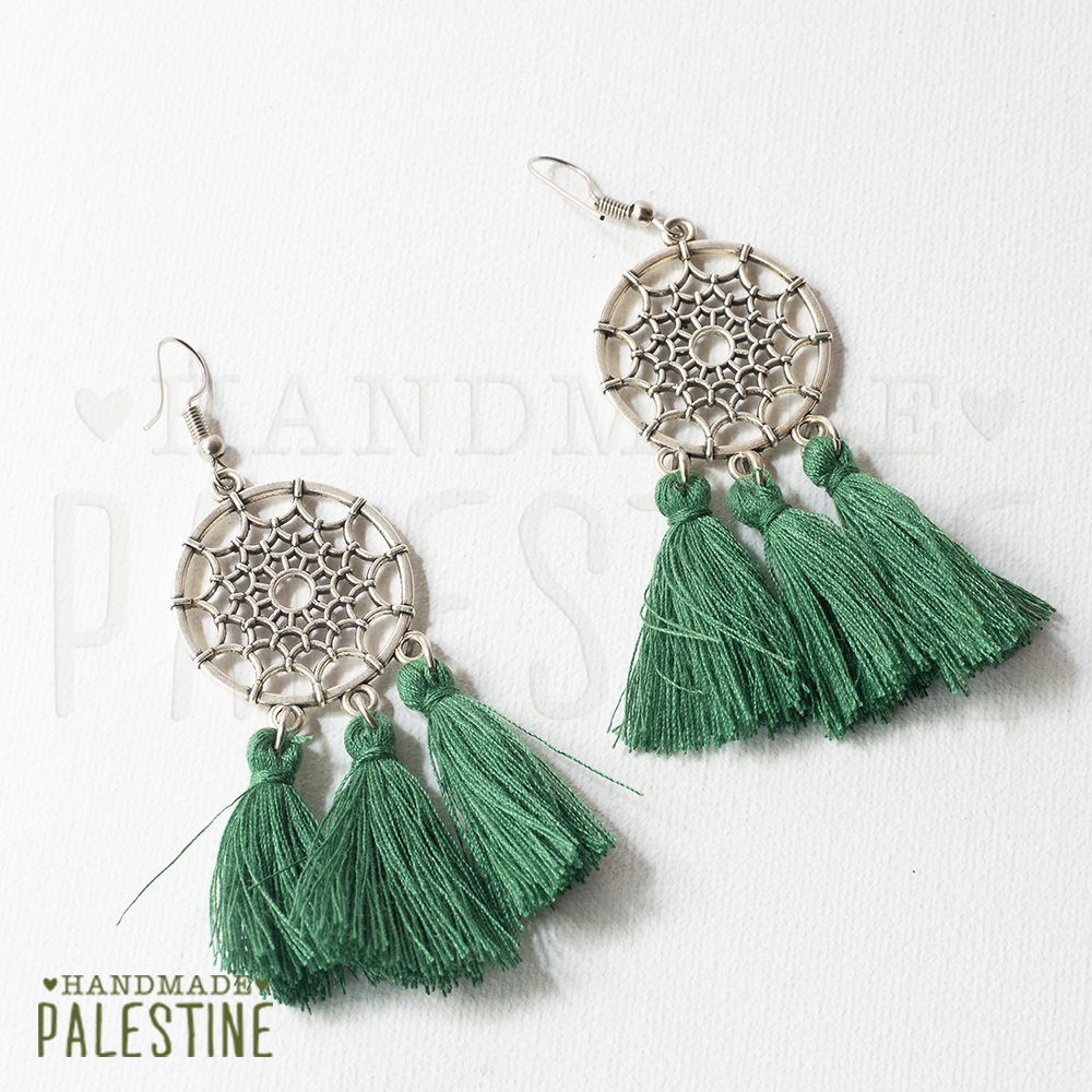 Gypsy Earrings: short forest green tassel on dream catcher