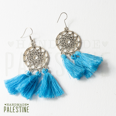 Tassel Earrings: short sky blue tassel on dream catcher
