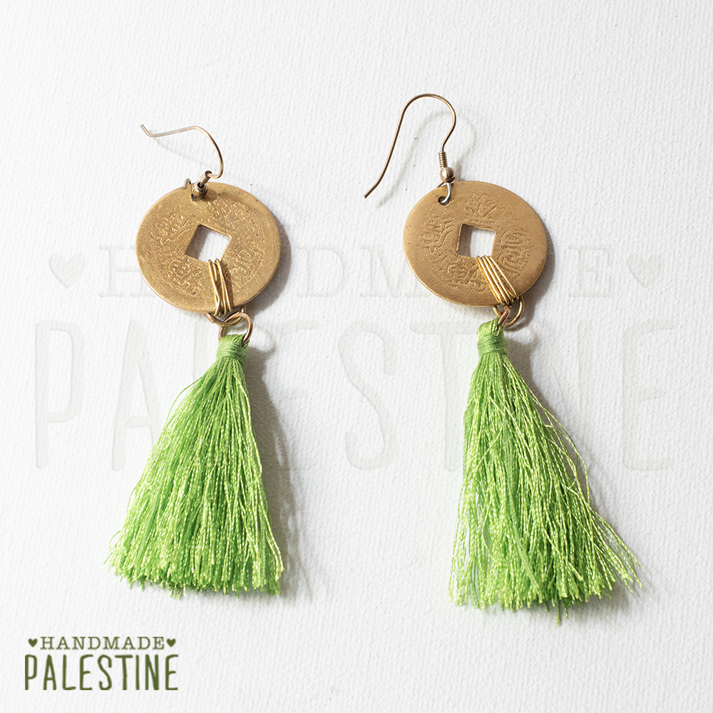 Gypsy Earrings: tassel green with egyptian gold