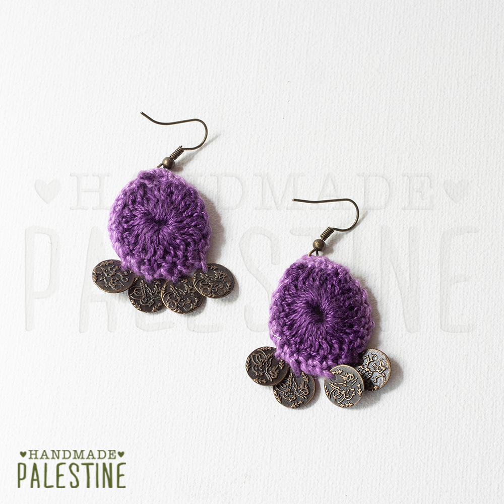 Gypsy Earrings: crocheted purple with coins