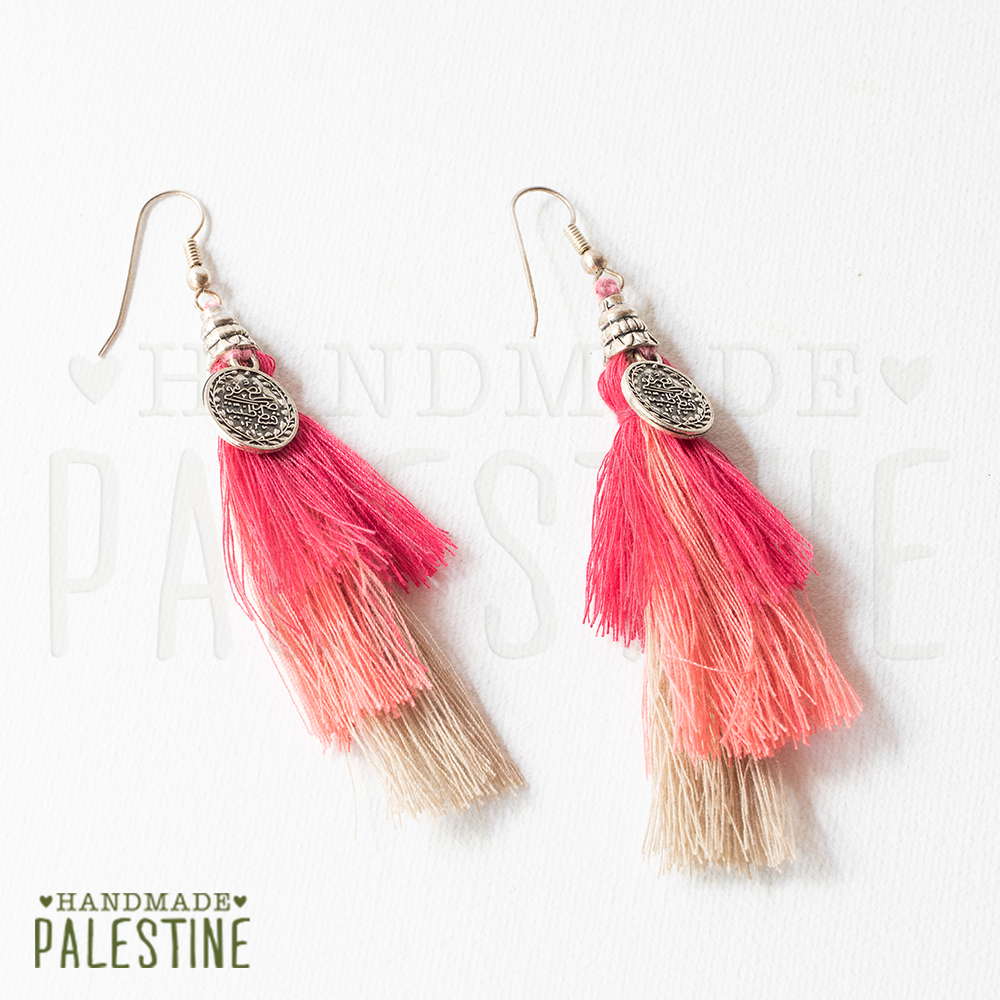 Gypsy Earrings: tassel pink with mini coins