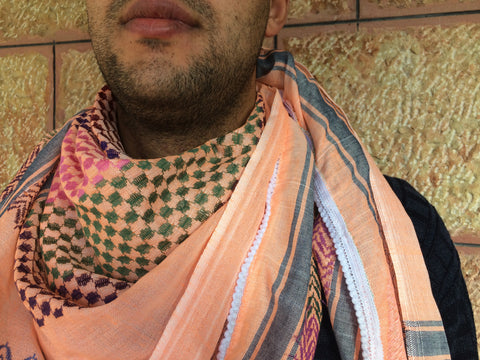 Original Palestine-Made Keffiyeh in Apricot Ice Cream Style