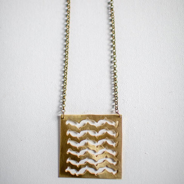 Brass Jewelry - Brass Necklace In A Traditional Tile Design