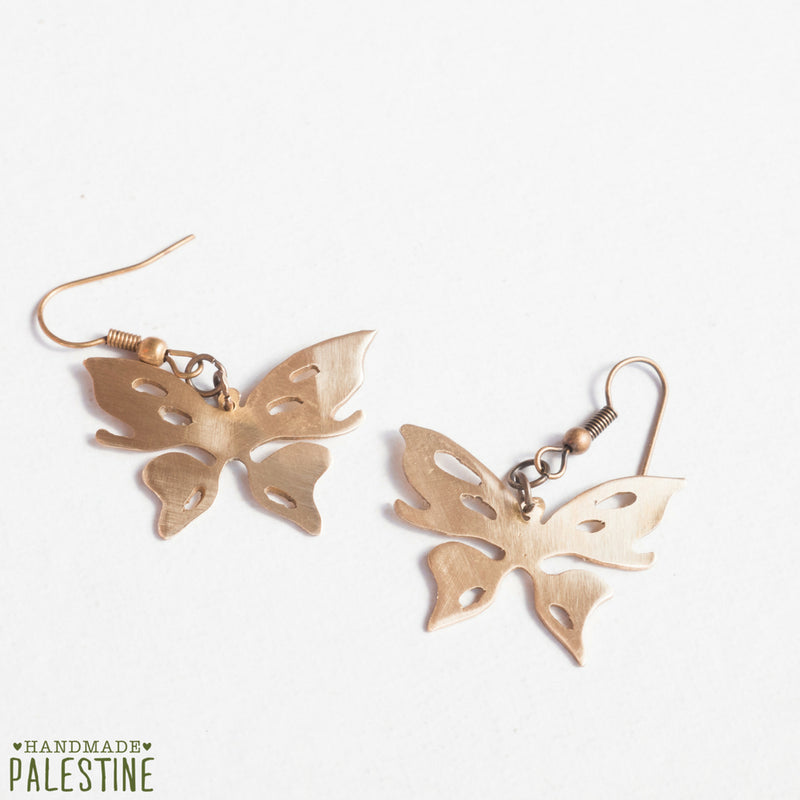 Brass Jewelry - Butterfly Earrings In Brass
