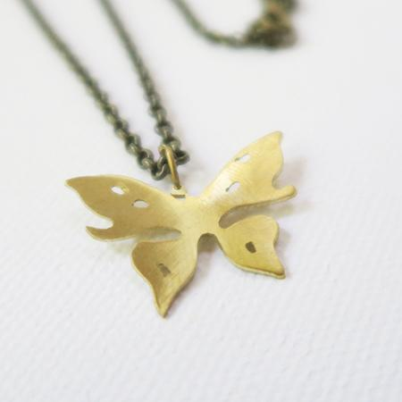 Brass Jewelry - Butterfly Necklace In Brass