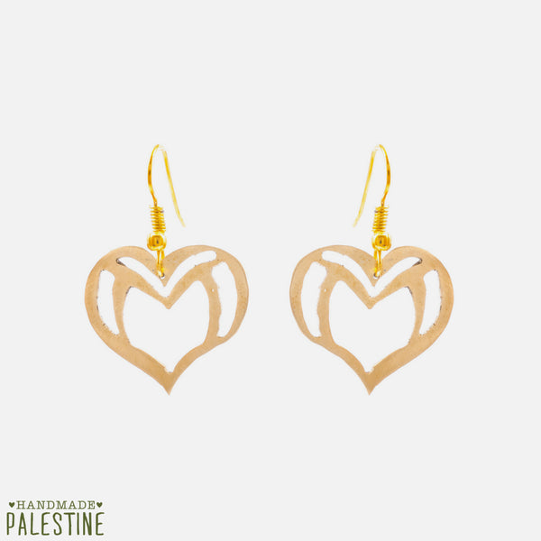 Brass Jewelry - Heart Earrings In Brass