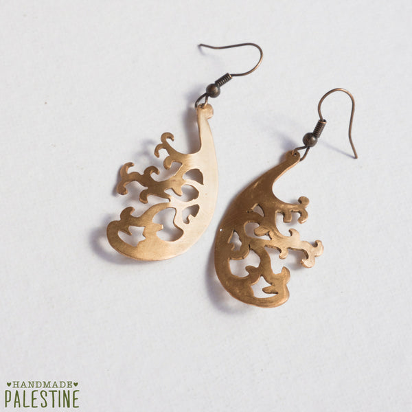 Brass Jewelry - Intricate Curved Tree Earrings