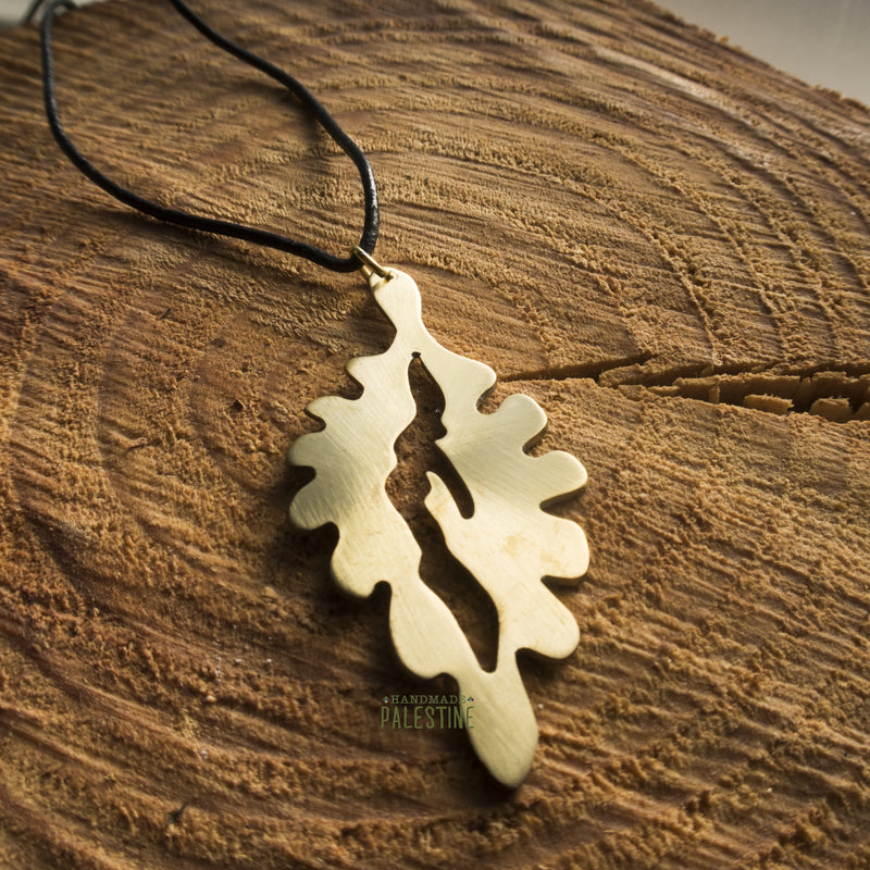 Brass Jewelry - Oak Leaf Necklace In Brass