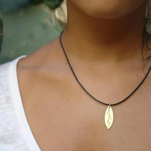 Brass Jewelry - Olive Leaf In Brass With Leather Cord