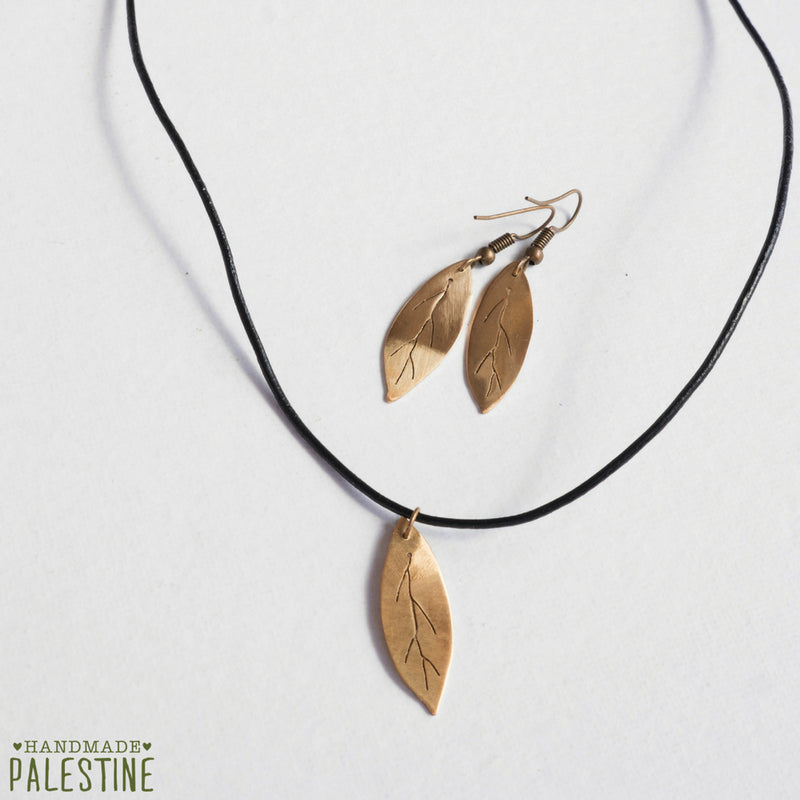Brass Jewelry - Olive Leaf Necklace And Earring In Brass Set