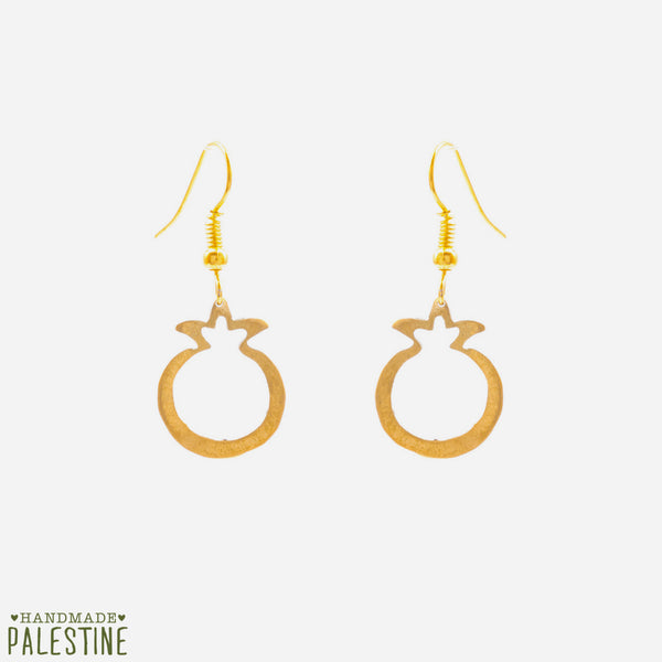 Brass Jewelry - Pomegranate Earrings In Hand Cut Brass