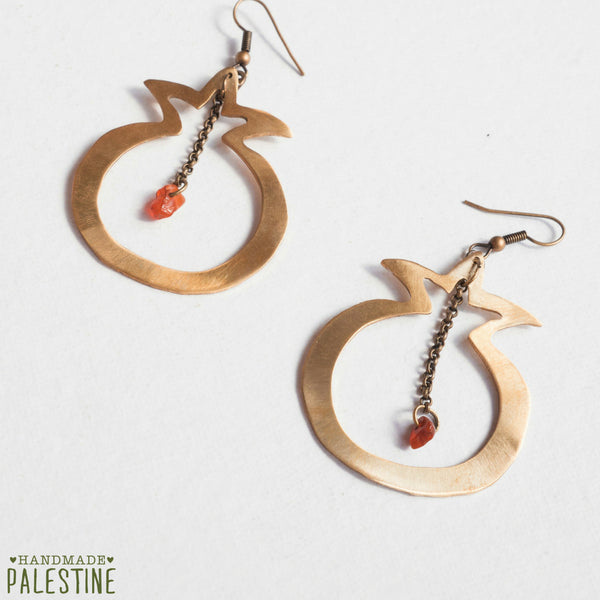 Brass Jewelry - Pomegranate Earrings In Hand Cut Brass With Red Bead