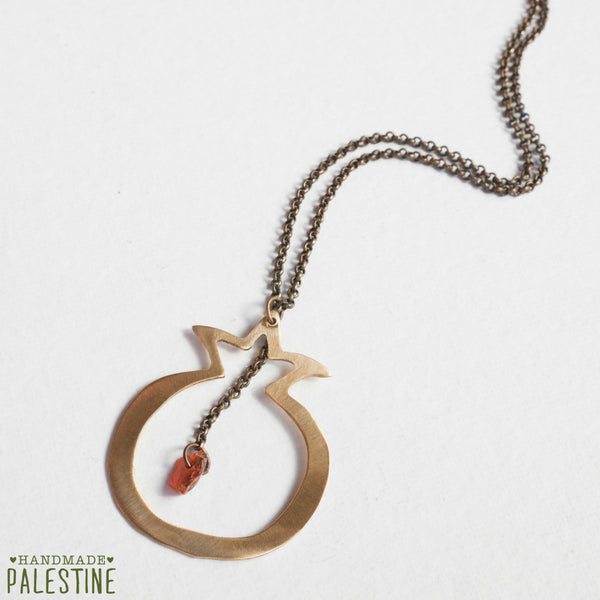 Brass Jewelry - Pomegranate  Necklace In Handcut Brass