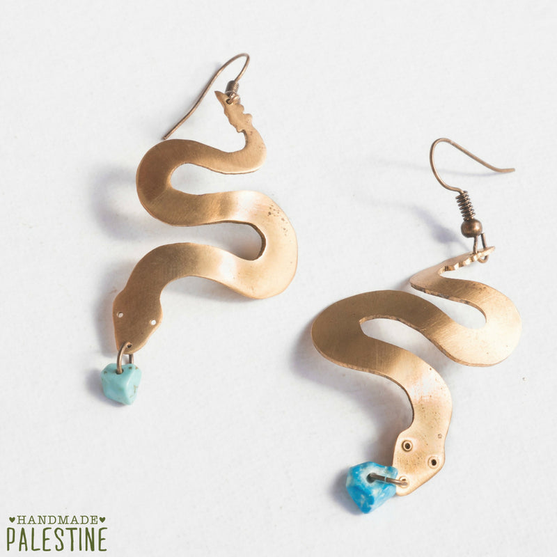 Brass Jewelry - Snake Earrings In Hand Cut Brass