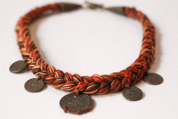 Handmade Jewelry - Gypsy Necklace Brown Braided On Brown Thread With 5 Coins