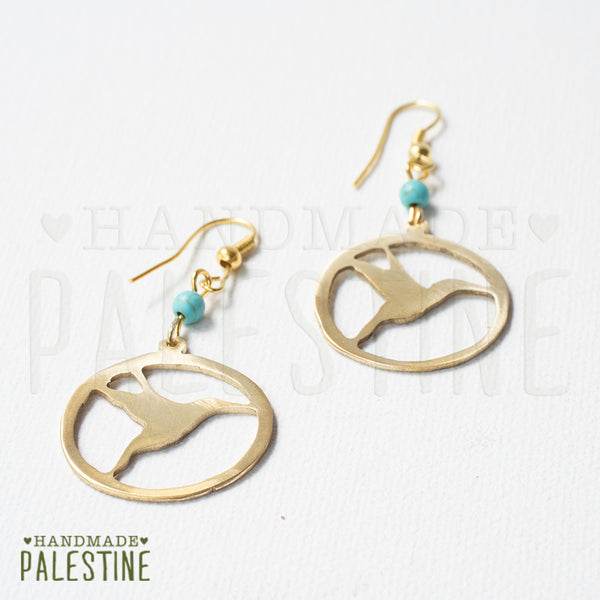 Handmade Jewelry - Sunbird Of Palestine Outline Earrings