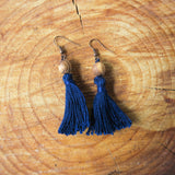 Handmade Jewelry - Tassel Earring With Olive Wood Beads