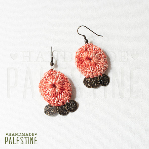 Handmade Jewelry - Tassel Earrings: Crocheted Pink With Coins
