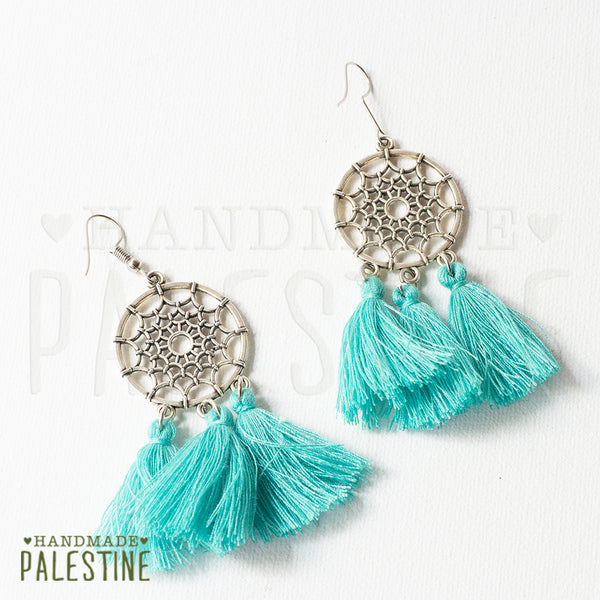Handmade Jewelry - Tassel Earrings: Short Teal Tassel On Dream Catcher